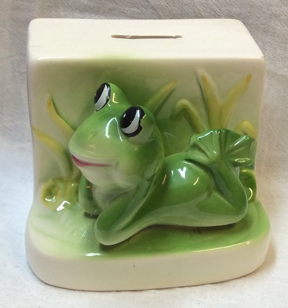 Cute Frog Piggy Bank Ceramic Online Auction Bid Buy Sell Antiques Collectibles Almost Anything